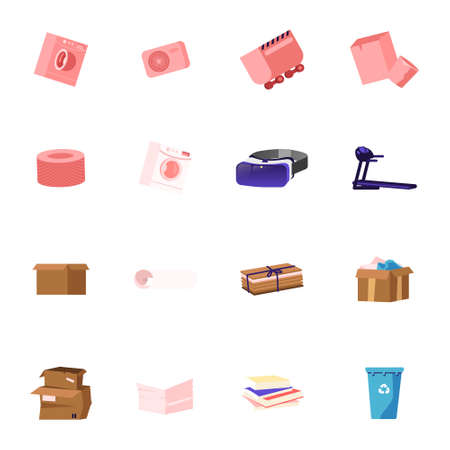 Set of Icons Washing Machine, Quarry Trolley and Glasses of Virtual Reality, Treadmill, Carton Boxes and Stack of Paper