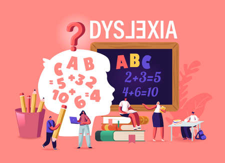 Children with Dyslexia Disorder Study in Special School. Tiny Kids Characters Listen Teacher in Class with Blackboard
