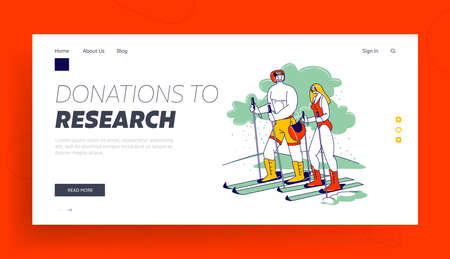 Couple of Nude Characters Skiing in Mountains Landing Page Template. Man and Woman Wear Swimsuit and Helmet Riding Ski