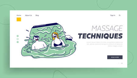 Man and Woman Sitting in Hydromassage Bath Landing Page Template. People Taking Spa Water Procedure. Body Care Therapy