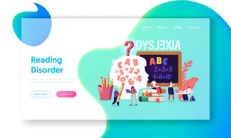 Children with Dyslexia Disorder Landing Page Template. Kids Characters Study Listen Teacher in Class front of Blackboard Illustration