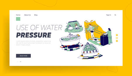 Characters Enjoying Hydromassage in Spa or Sanatorium Landing Page Template. Men or Women Sit in Tub with Gurgling Water Vettoriali