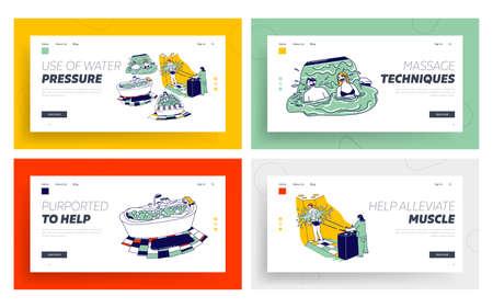 Characters Enjoying Hydromassage Landing Page Template Set. Men Women Sit in Bath Tub, Patient Procedure with Aqua Jet