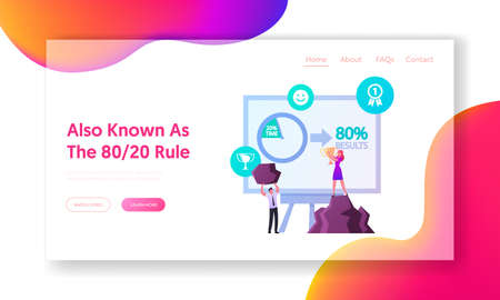 Pareto Law Landing Page Template. 20 Percent Efforts Giving 80 Percent Result. Tiny Business Characters at Huge Computer