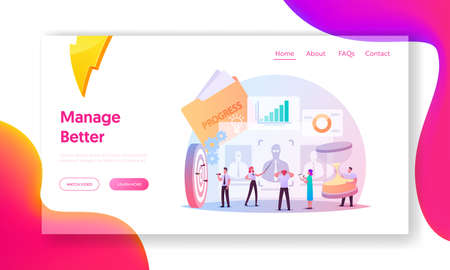 Performance Management Landing Page Template. People Characters in Process of Ensuring Activities and Outputs Meet Goals
