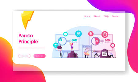Pareto Law Business Landing Page Template. People Doing 80 Percent of Hard Work, Effort Give Result Principle 80/20 Rule