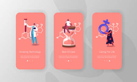 Estrogen Hormones Health, Diagnostics and Treatment. Mobile App Page Onboard Screen Template. Tiny Patients and Doctor