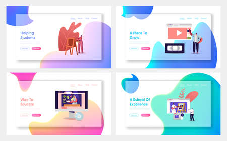 Characters Watch Video Courses, Online Education Landing Page Template Set. Students Distance Learning, Virtual Webinars