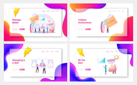 Performance Management Landing Page Template Set. Characters Ensuring Activities and Outputs Organization Effective Goal 向量圖像