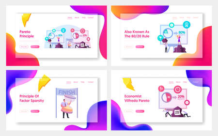 Pareto Law Business Landing Page Template Set. Principle 80/20 Rule. 20 Percent of People Doing 80 Percent of Hard Work 写真素材 - 151922735