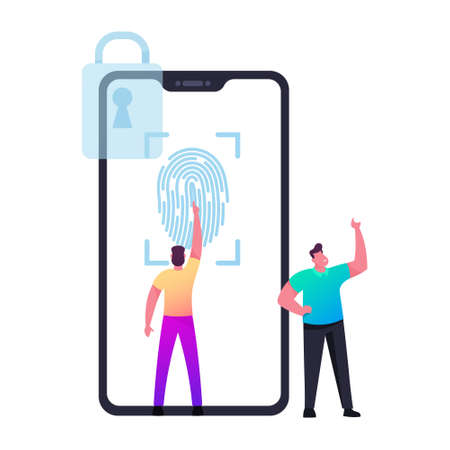 Verification, Cyber Security. Man Character Stand at Huge Mobile Phone with Lock Symbol Touching Screen for Finger Scan 向量圖像