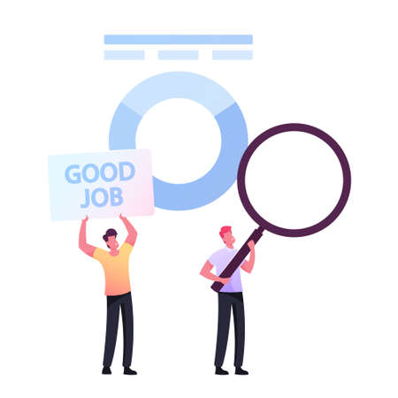 User Experience, Ranking and Rating Concept. Tiny Businessmen Characters Give Review and Feedback for Good Job Services 向量圖像