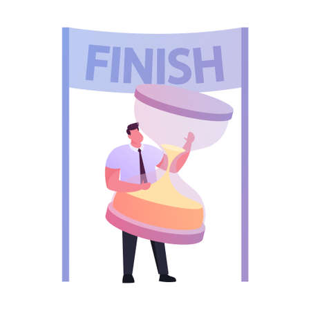 Businessman Character Hold Huge Hourglass Stand in Finish Line. Deadline, Business Process, Goal Achievement, Pareto Law