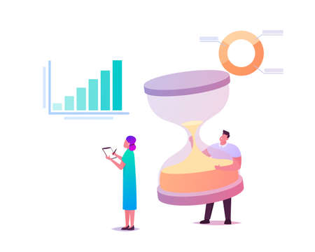 Performance Management Concept. Businessman Character with Huge Hourglass and Businesswoman Stand at Infographics Chart
