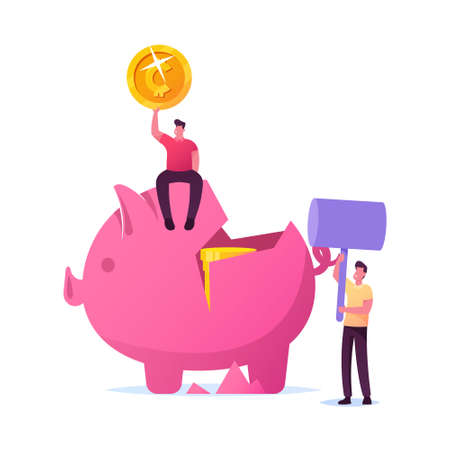 Characters Saving Money, Finance Problems Concept. Business Man Hit Piggy Bank with Hammer to Take Coins from Moneybox