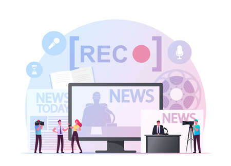 Reportage Concept. Tiny Reporter or Journalist Character with Microphone Interviewing Young Woman front of Huge Tv, News