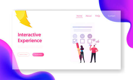 Customer Characters User Experience, Review and Rating Landing Page Template. Client Leave Feedback, Evaluate Service