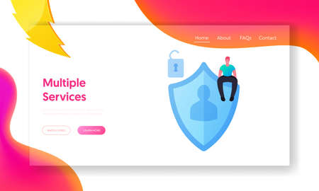 Personality Verification, Secure Account Access Landing Page Template. Virtual Private Network, Website, Data Security 写真素材 - 152000139