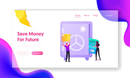 People Collecting Money, Making Savings Landing Page Template. Tiny Characters Put Coins and Card to Safe. Cash Safety