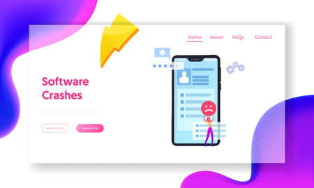 Ranking Evaluation and Rating Classification Landing Page Template. Displeased Client Leave Bad Review and Feedback Ilustração