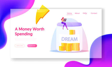 Woman Collecting Money on Dream Landing Page Template. Female Character Sitting on Huge Glass Jar, Financial Savings