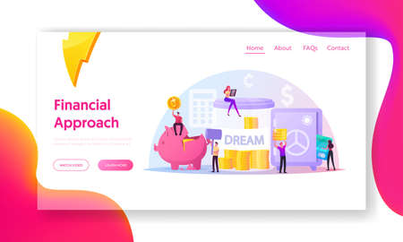 Finance Budget Landing Page Template. Tiny Characters Put Coins into Huge Piggy Bank, Safe and Jar Saving, Collect Money
