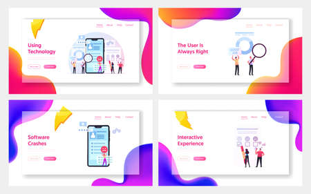 User Experience, Review Rating Landing Page Template Set. Tiny People Put Rate Stars in Huge Mobile App. Client Feedback
