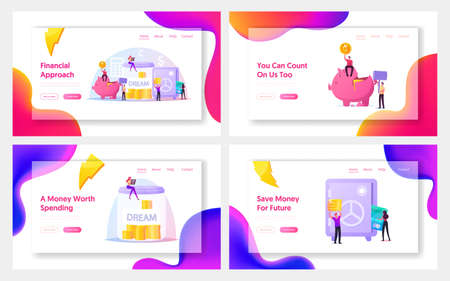 Finance Budget Landing Page Template Set. Tiny People Saving and Collect Money into Huge Piggy Bank, Safe and Glass Jar