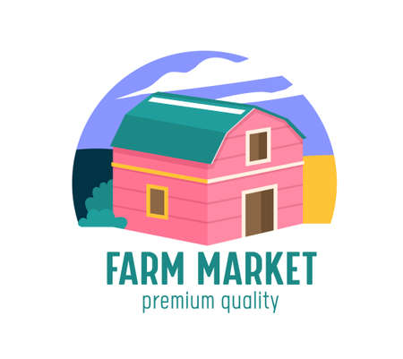Farm or Farmer Market Banner with Wooden Barn on Ranch. Ecological Natural Organic Production Advertising Promo Poster
