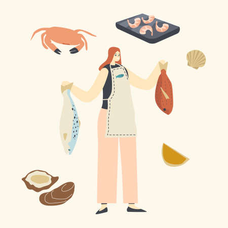 Female Character Holding Raw Fish for Cooking Seafood Meal. Woman Presenting Sea Products Asian Cuisine, Healthy Food 向量圖像
