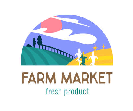 Farm or Farmer Market Banner with Green Meadow and Corn Field. Ecological Natural Fresh and Tasty Organic Products Icon