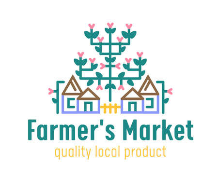 Farm or Farmer Market Banner with Country Cottages and Blooming Plant. Ecological Natural Organic Production Ad Poster