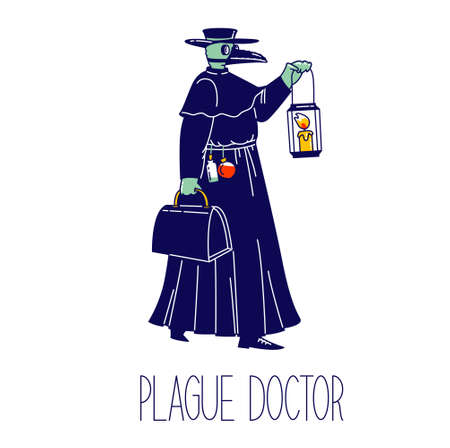 Plague Doctor Character with Crow Beak Mask Wearing Black Hat and Raincoat with Glass Medical Bottles Hanging on Belt