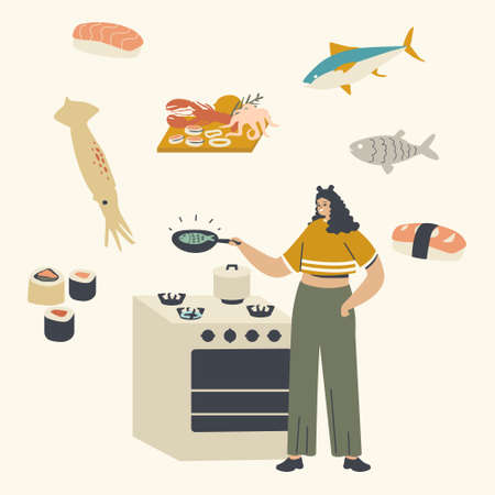 Woman Character Cooking Seafood Frying Fish Holding Pan in Hands Presenting Sea Products in Process of Preparing Food