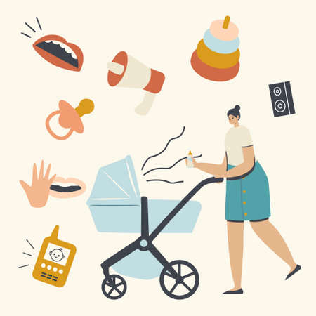 Young Mother Pushing Pram with Newborn Baby Screaming and Crying inside. Mom Holding Feeding Bottle. Parenting Lifestyle