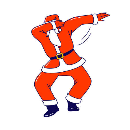 Xmas Celebration, Santa Claus Dabbing Motion. Funny Man in Red Costume Dab Disco Dancing. Christmas Character Performing 写真素材 - 152230818