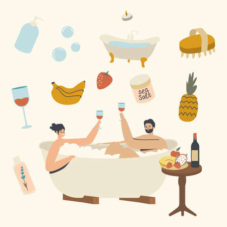 Young Couple Relax in Bath with Foam Drinking Wine Man and Woman Characters Taking Sauna and Spa Water Procedure, Date