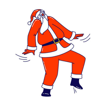 Santa Claus Dance at Party or Xmas Celebration. Christmas Character in Red Costume Dancing Performing Cool Motions