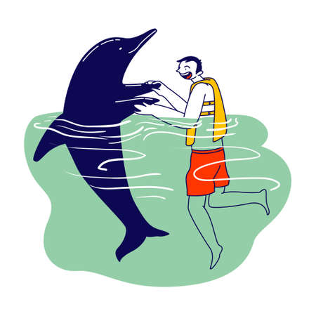 Character in Life Vest Swimming and Playing with Dolphins in Ocean. Summertime Recreation, Communication with Sea Animal