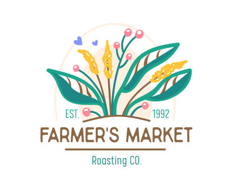Farmer Market Banner with Green Plant. Ecological Natural Organic Production , Farm Fresh and Tasty Food or Products