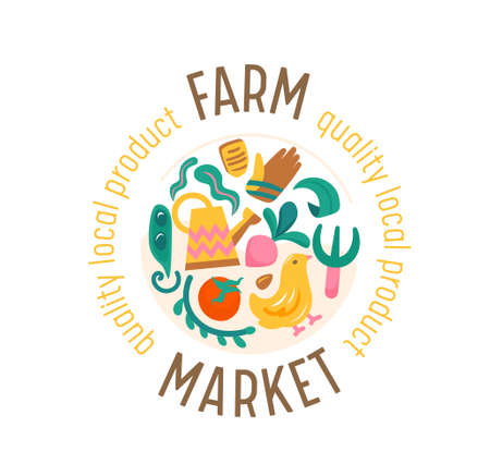 Farm Market Banner with Veggies and Chick. Ecological Natural Organic Production Advertising Promotional Farmer Poster