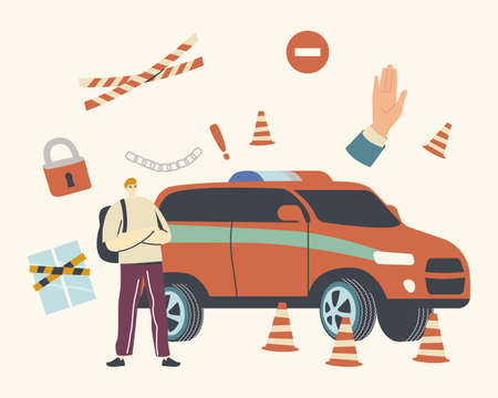 Male Character with Crossed Arms at Car with Siren Protect Closed Territory. Palm Gesture Stop Signal, Parking Forbidden