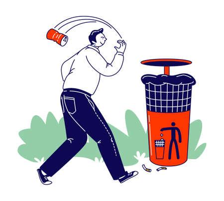 Irresponsible Citizen Passing by Litter Bin Throwing Garbage on Ground Ignoring Warning Sign. Disgusting Human Behavior