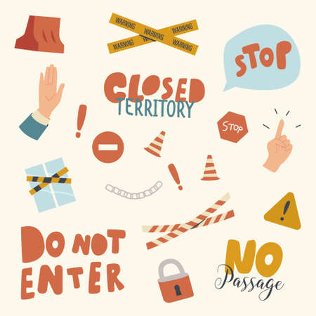 Icons Set, Closed Territory Themed Background with Yellow Tape, Warning Signs and Gesturing Palm Show Stop Symbol, Lock