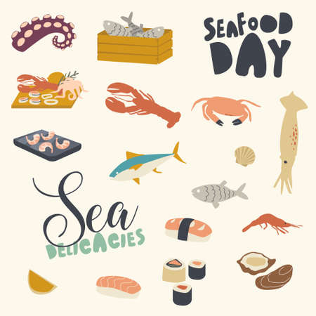 Icons Set, Seafood Themed Background with Asian or Mediterranean Cuisine, Raw or Cooked Fish, Octopus, Prawns with Crab