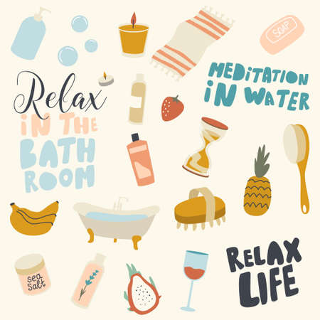 Icons Set, Relax in Bathroom Themed Background with Bath Tub, Wineglass and Banana Bunch, Sea Salt, Cosmetics Bottles