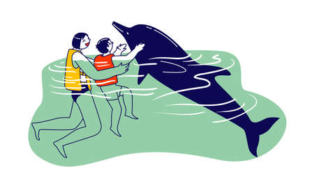 Parent or Instructor and Little Child Characters Swimming and Playing with Dolphins in Sea or Ocean. Recreation Therapy