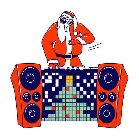Santa Claus DJ in Red Traditional Costume and Headset Making Music at Console at Night Club. Cool Christmas Disco Party