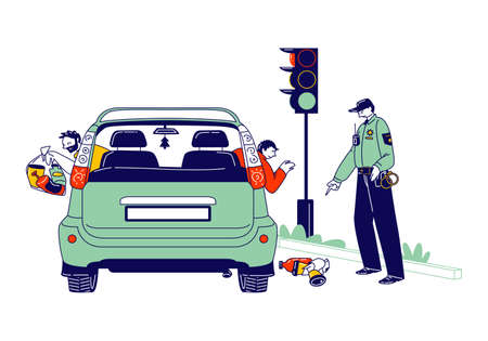 Male Characters Throw Garbage through Car Windows. Policeman Pointing On Garbage Ask to Clean Up. Environment Pollution
