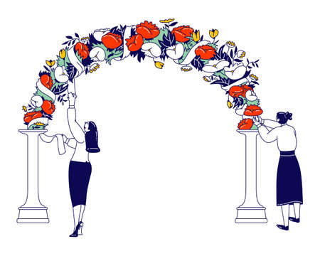 Women Installing Wedding Decor. Female Characters Decorate Arch for Outdoor Marriage Ceremony with Flowers and Ribbons